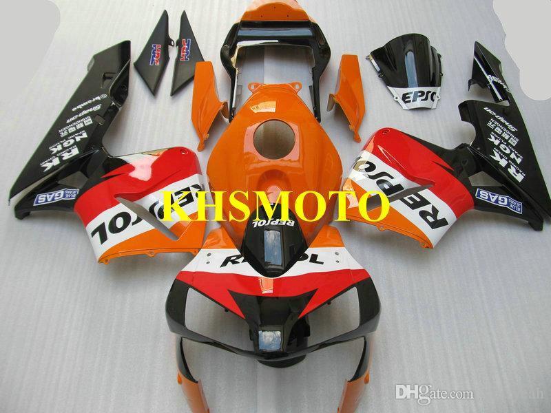 Honda CBR600RR 03 04 için CBR 600RR F5 2003 2004 05 CBR600 motosiklet Fairing kiti ABS Kırmızı turuncu siyah Fairings seti + Hediyeler HG34