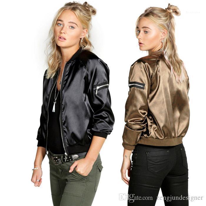 Casual de Hip Hop de la PU de las chaquetas delgado de manga larga con cuello redondo de la cremallera Mujer ropa de la ropa de moda para mujer Desinger