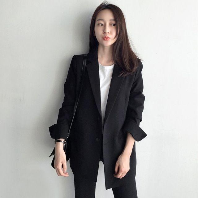 2018 Automne Nouveau Vêtements d'extérieur Casual Noir cranté Col Plein manches Bureau Blaser IMPRIMEE boutonnage Femme Blazer