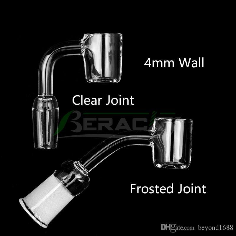 4mm Flat Top Quartz Banger Nail 10mm 14mm 18mm Male Female 45 90 Quartz Bangers Nails For Glass Water Bongs Oil Dab Rigs