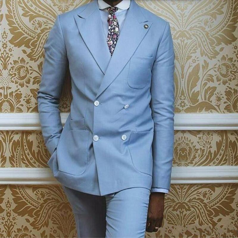 Custom Made Mens Double Breasted Light Blue Suits Formal Men Suit Set Men Wedding Groom Formal tuxedos Jacket+Pants(Jacket+Pants