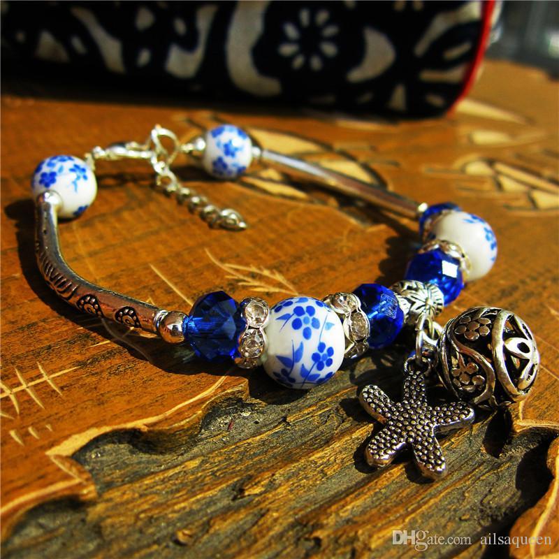 Handmade Ethnic Vintage Silver Bracelets Chinese Style Ceramics Beads Charm Bangle Leaf Pendants Female Personality Jewelry