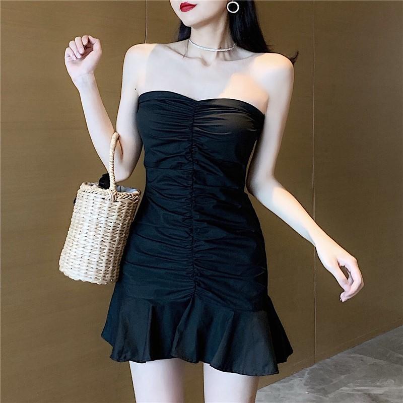 Été 2020 nouvelle taille tempérament robe bustier sexy robe hérissée de hanche noir vêtements pour femmes
