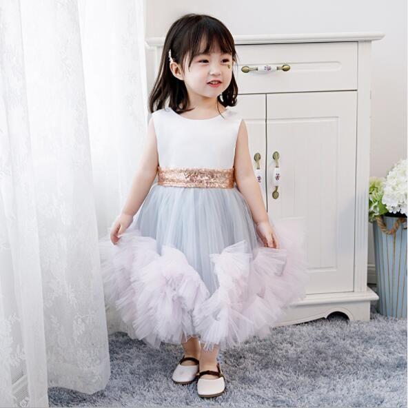 2020 New Sequin Layered Tulle Flower Girl Dress for Girls Tulle Dresses Birthday Party Wedding Ceremonious Girl Baptism Gown for Kids