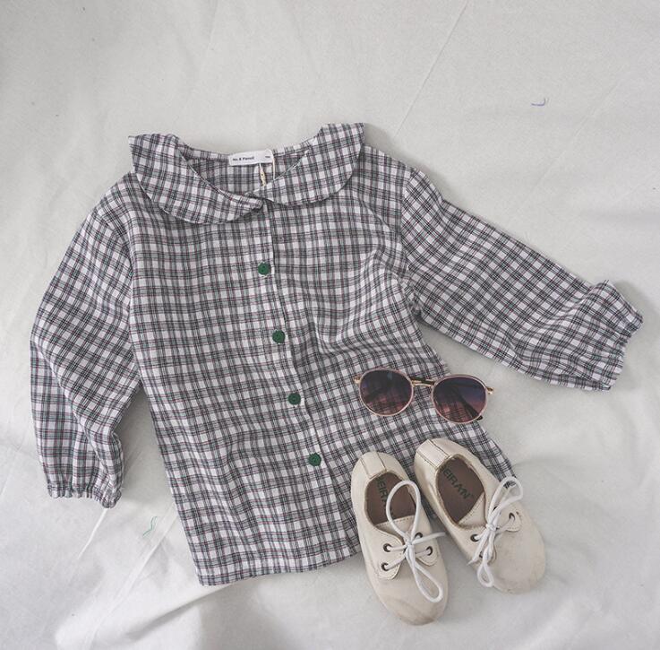 2019 nuevo estilo de las muchachas camisa de tela escocesa del algodón del otoño muchachas de la manera de la blusa 3-8T PX973