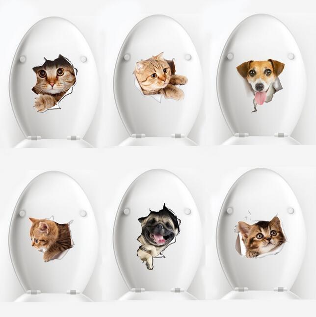 Perro Gato 3D etiqueta de la pared del agujero Vista Cuarto de baño WC sala de estar Antecedentes decoración del hogar de la etiqueta del cartel pared pegatinas