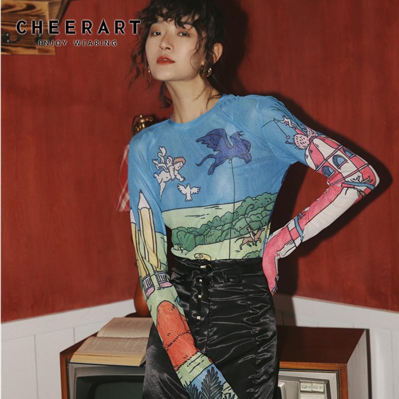 As mulheres vêem CHEERART Sheer malha Top manga comprida apertado camiseta Através Graphic Tees básico T-shirt Roupa interior queda Primavera 2020 Moda CX200622