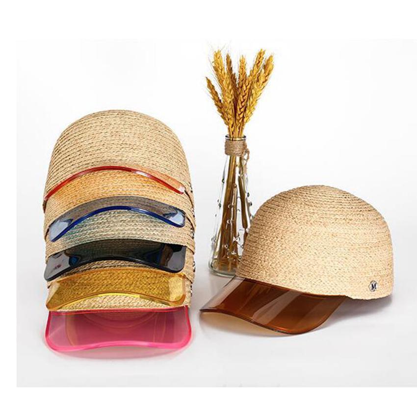 Las mujeres del sombrero de paja de la playa gorra de béisbol de la película transparente de ala Snapbacks Primavera Y Verano protector solar bóveda del sombrero ZZA378-1