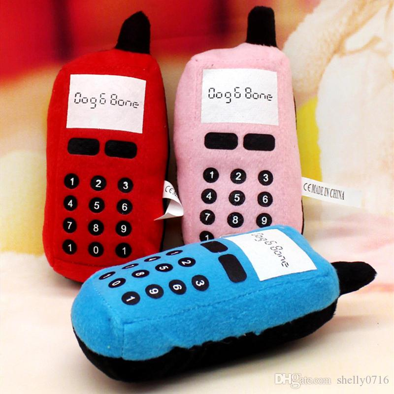 Hot New Funny Pet Dog Cat Chew Toys Training Phone Shape Play Squeaky Plush Sound Toys