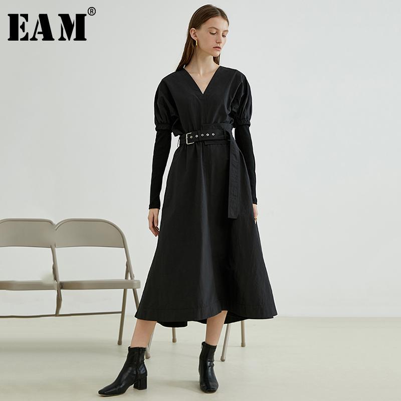 [EAM] Abito da temperamento pieghettato con cintura nera da donna Nuovo scollo a V manica lunga sciolto moda marea primavera autunno 2019