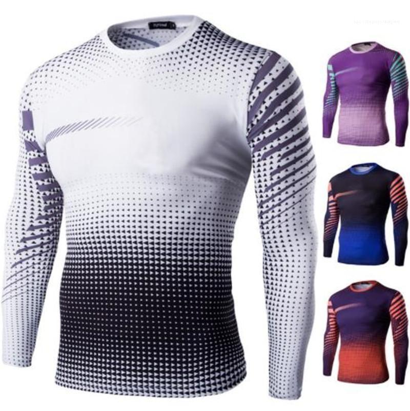 Длинные рукава тонкие тройники мужская спортивная футболка Велоспорт мужские дизайнерские футболки мода 3D печать быстросохнущая