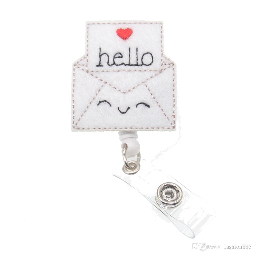 Vente chaude nouveau style mignon Bonjour enveloppe rétractable infirmière médicale feutre Porte-badge d'identification pour le cadeau