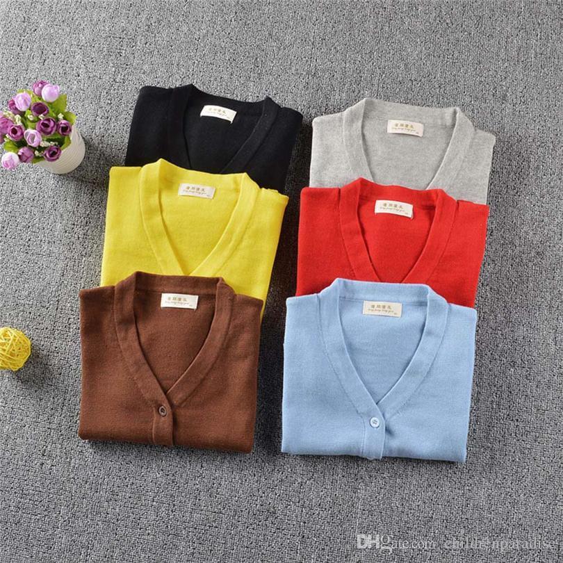 Criança crianças Jumpers Meninos Bebés Meninas cor sólida V Collar Sweater Cardigan Outono Mangas longas Tops roupa morna