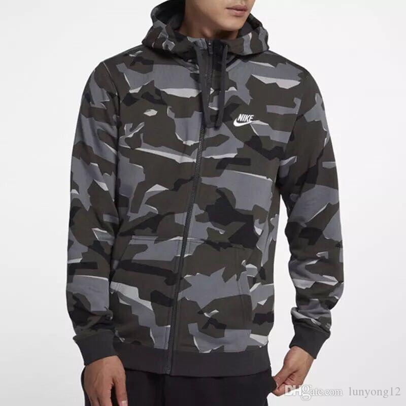 Marka Erkek Kamuflaj Kapüşonlular Erkek giyimi Sweatshirt Hoody Moda Streetwear Pamuk Eşofman Coat Men Tops fermuar