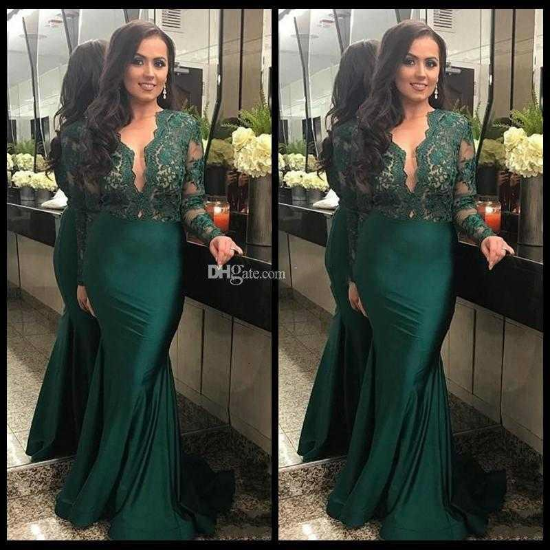 2020 Dark Green Illusion Long Sleeves Evening Dresses With Deep V Neck Lace Mermaid Prom Dress Long Party Gowns