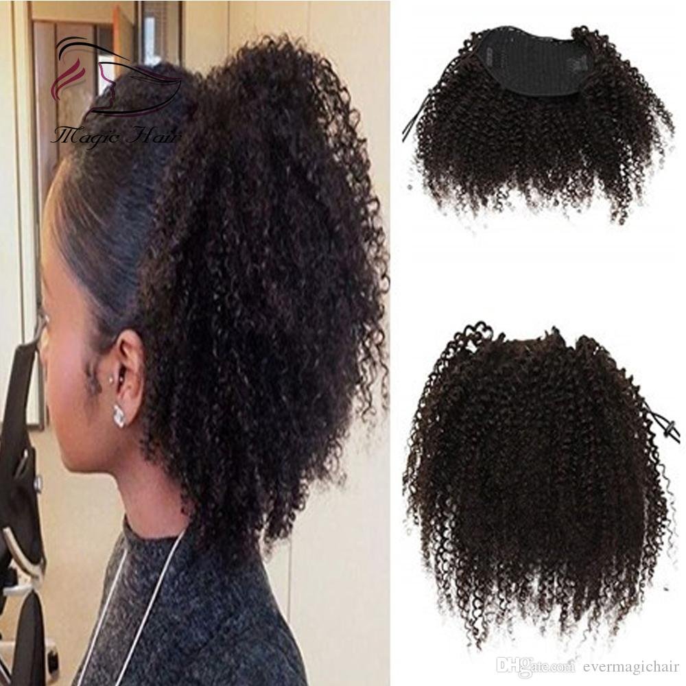 Evermagic 8 30inches Afro Kinky Curly Human Hair Ponytail Extensions Drawstring Hairpieces Natural Curly Clip In Ponytail Black Ponytail Black Ponytails From Evermagichair 40 11 Dhgate Com