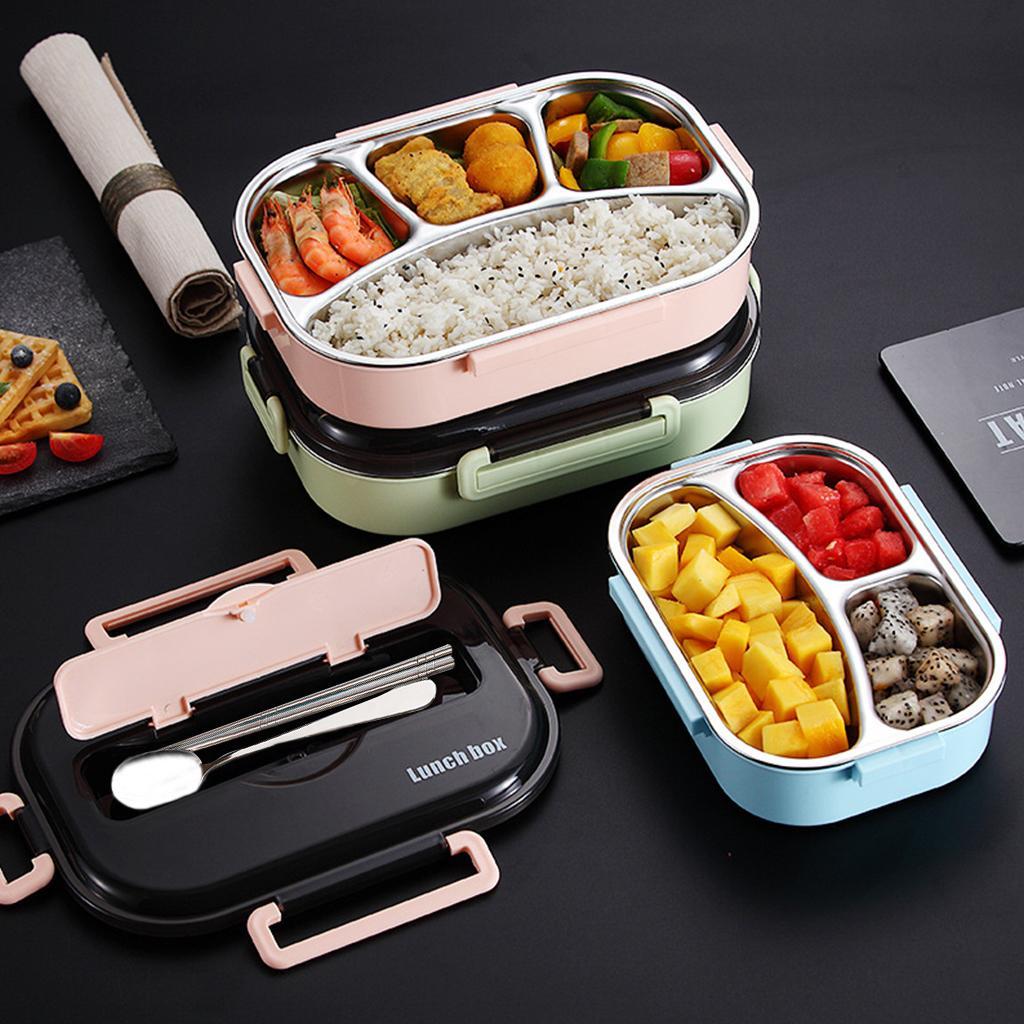 Tragbare Mittagessen-Kasten mit Compartments 304 Edelstahl Bento Box für Kinder Mikrowelle Nahrungsmittelbehälter mit Geschirr Set A13 T200111