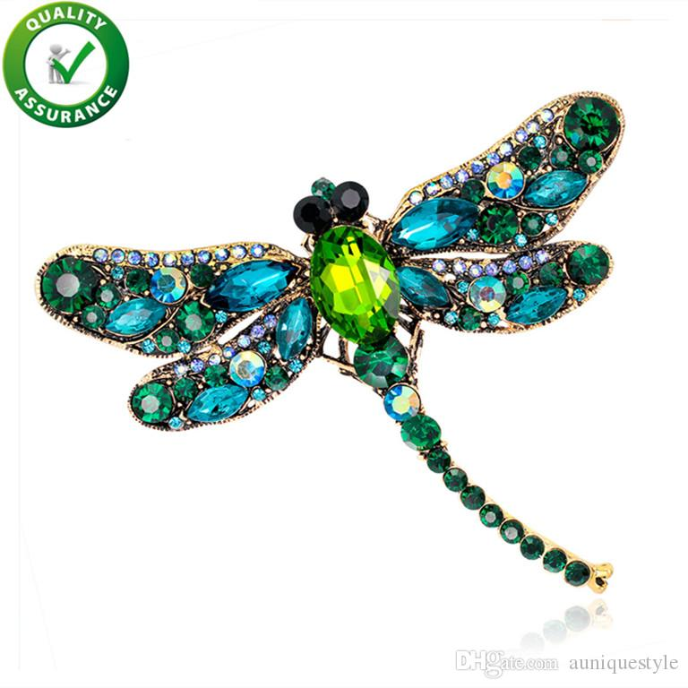 Designer Crystal Vintage Dragonfly Brooches Women Large Insect Brooch Pin Fashion Dress Coat Accessories Cute Jewelry Shinny Rhinestone Gift