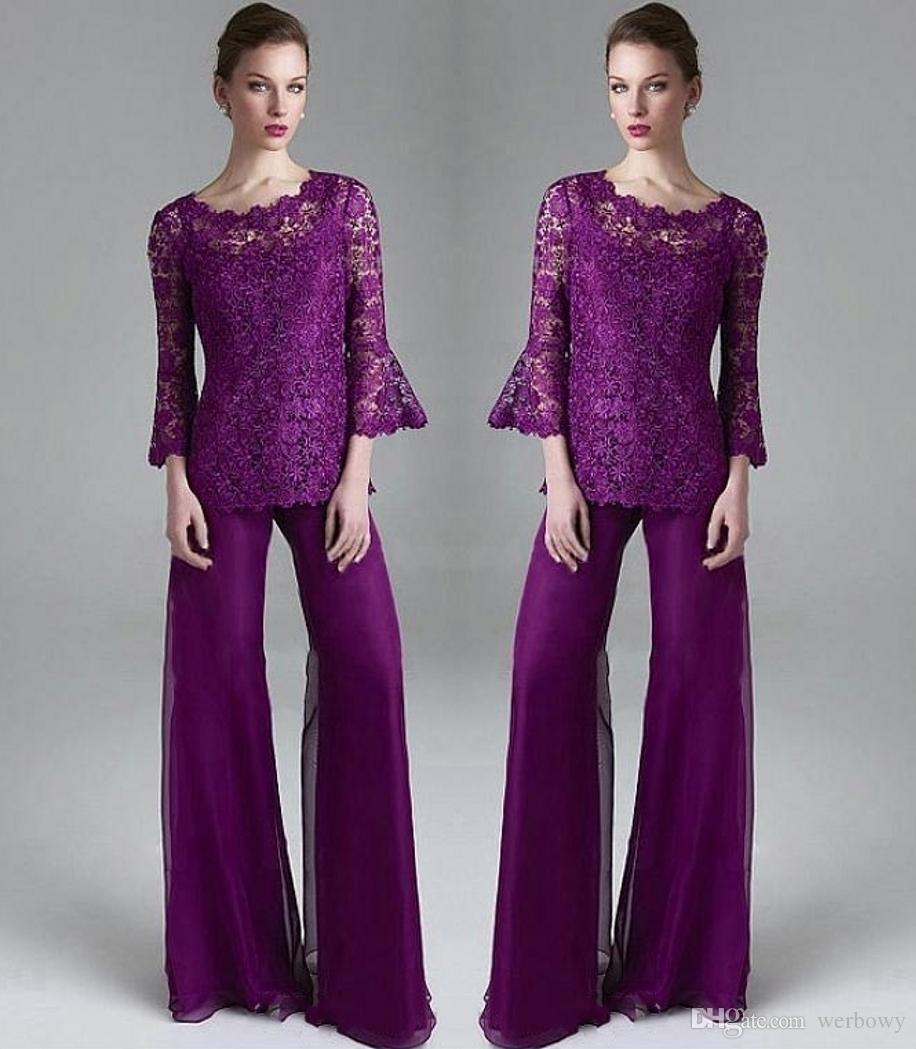 Classy Purple Lace Mother Of The Bride Pant Suits Sheer Jewel Neck Long Sleeves Wedding Guest Dress Plus Size Chiffon Mothers Groom Dresses