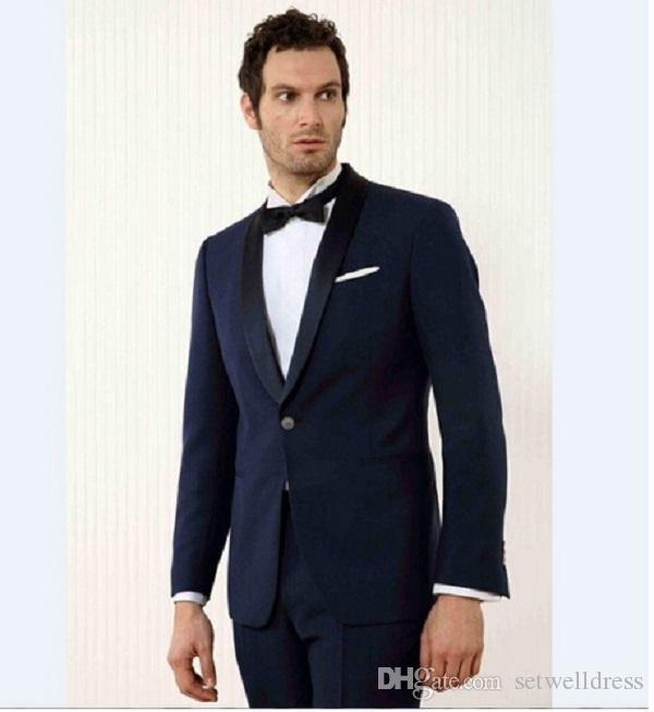 Setwelldrees Yeni Custom Made 2 adet Seti Damat Smokin Groomsmen Şal Yaka Düğün Yemeği Suits Damat Giydirme (ceket + pantolon)