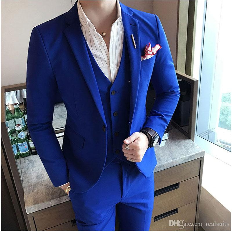 Summer Royal Blue Slim Men Suits for Wedding Groom Tuxedo Casual Man Blazer Prom Party 3Piece(Coat Pants Vest)Costume Homme Terno Masculino