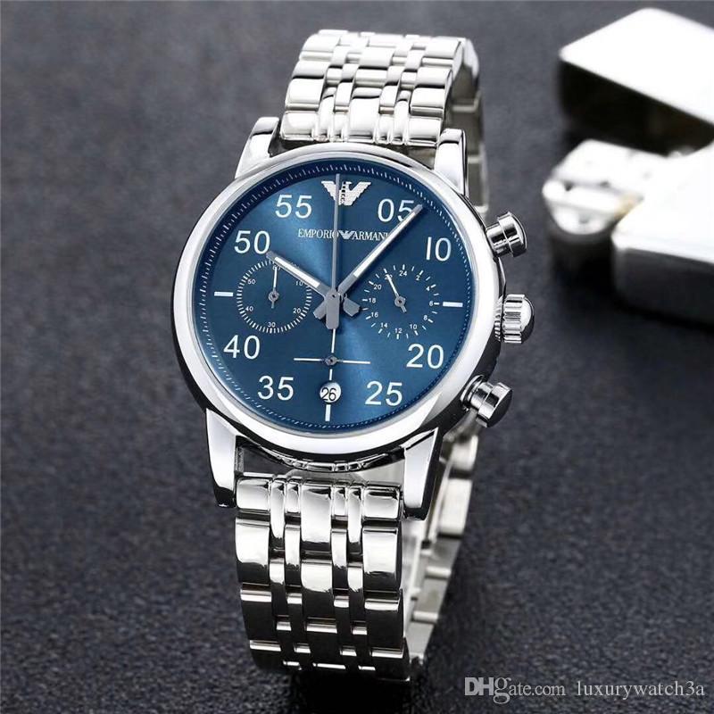 Erkek Tasarımcı İzle AR Marka Moda Casual Tam Fonksiyon yüksek kalite Mavi hatlı paslanmaz çelik Üst Lüks Saatler Erkekler relogio masculino