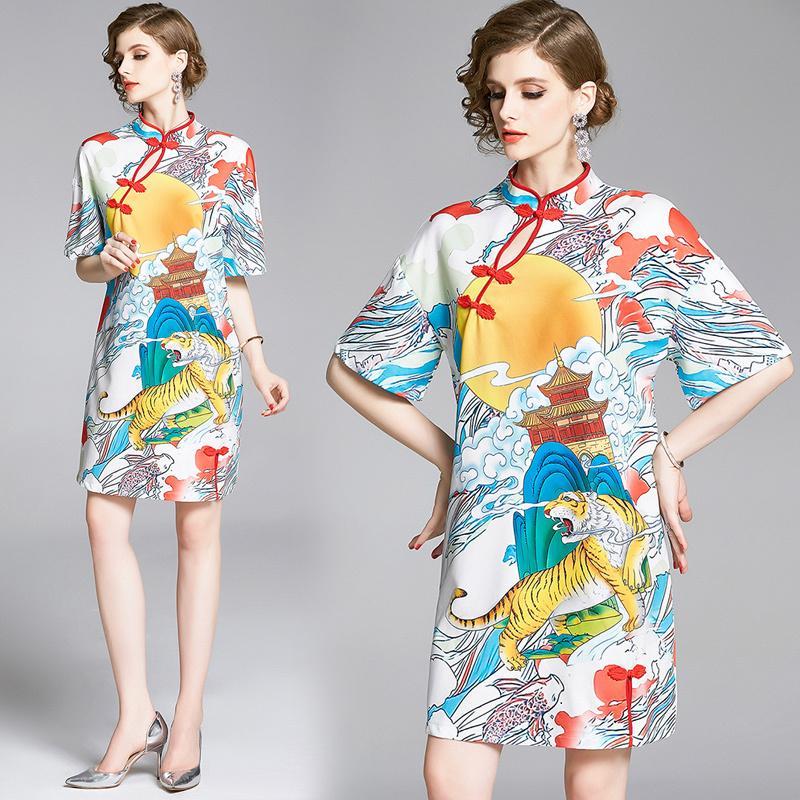 Primavera Verano Otoño de pista Nube Tiger Sky Sun de la vendimia impresión cuello de manga larga de las señoras de partido ocasional de una línea mini vestido cheongsam