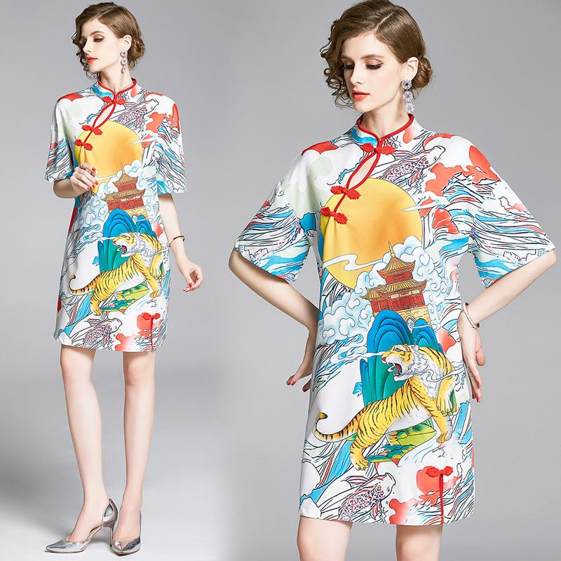 Printemps Été Automne piste Nuage Vintage Tiger Sun Sky Imprimer Col manches longues femmes Avslappnad Parti A-ligne Mini robe cheongsam