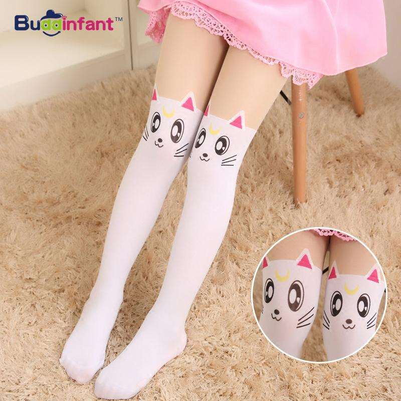 Summer Children's Baby Kids Girls Thin Tights Pantyhose Knee Fake Tattoo Velvet Stocking white Cartoon Kitty Cat 3-8Y new 2016