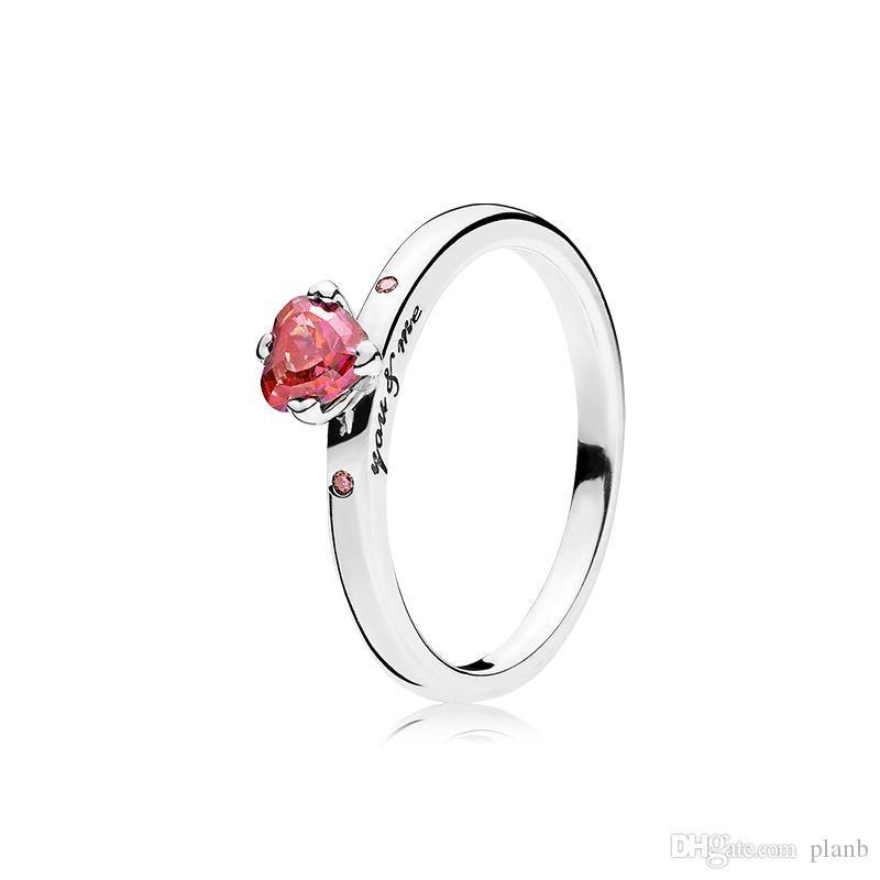 Caja para Pandora 925 Anillo Corazón rojo CZ corazón del diamante del anillo de bodas de plata de ley original espumoso con la caja al por menor