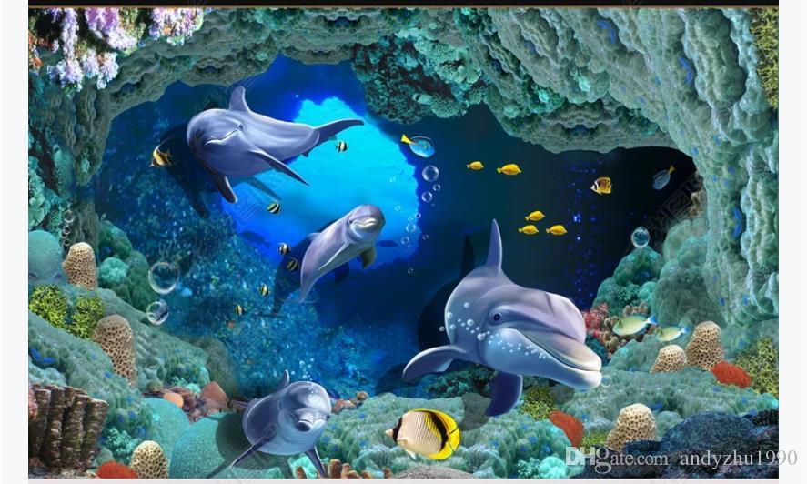 Personnalisé 3D photo auto-adhésif PVC plancher papier peint murale 3D mer fond cave cave dauphin corail salle de bain imperméable peinture