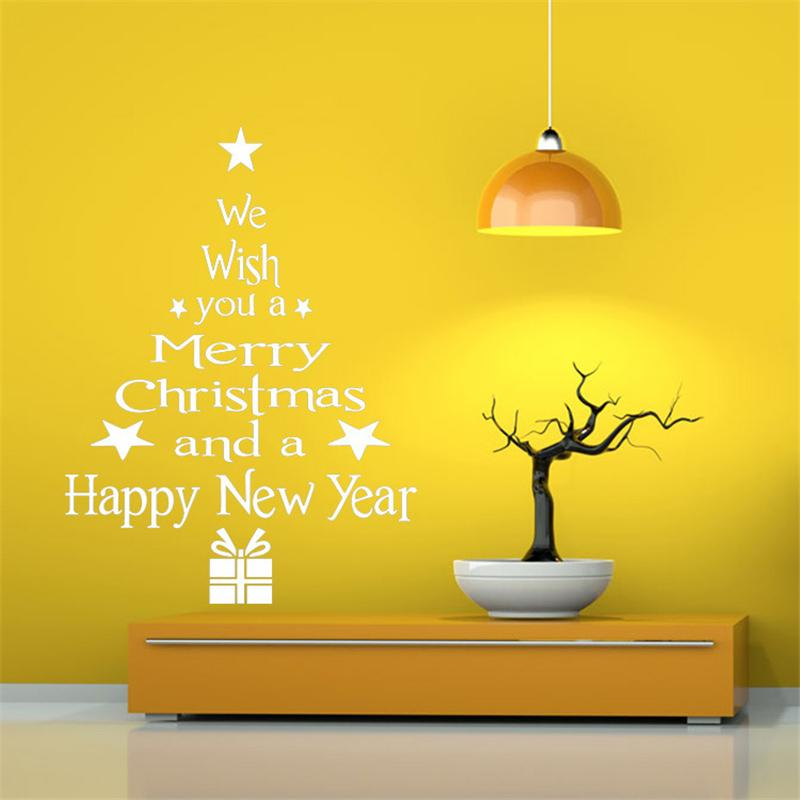2018 New Christmas Decoration for Home White Red Christmas Wall Sticker Removable Waterproof Wall Art Door Window Stickers
