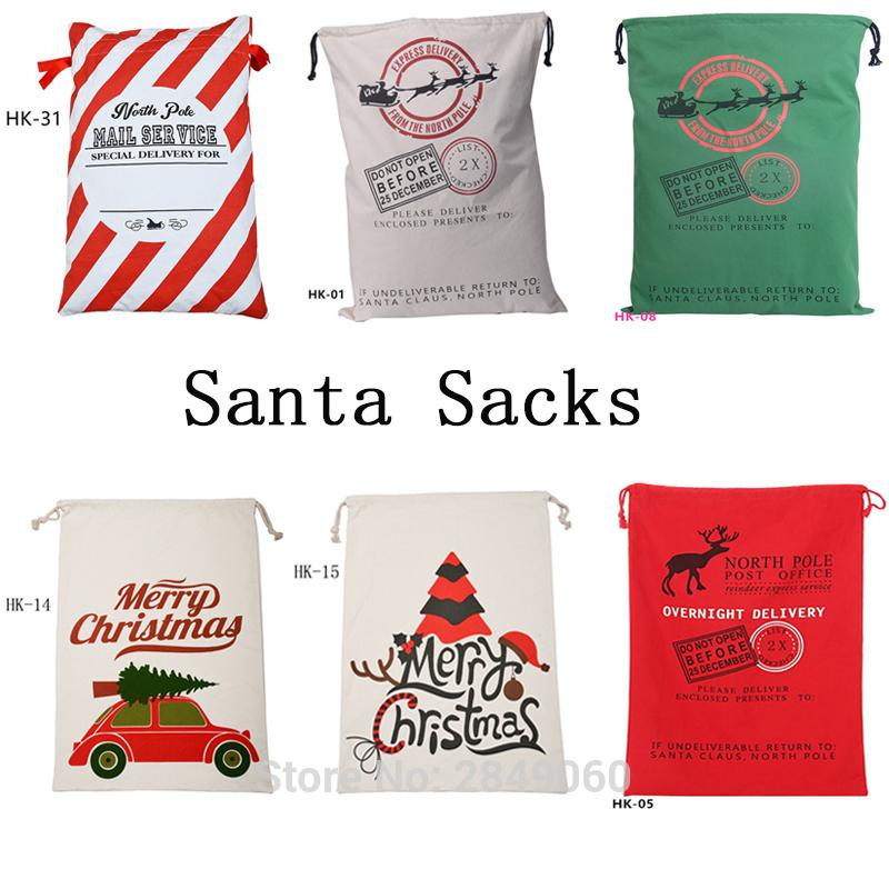 50pcs Canvas Candy Cane Santa Sacks Drawstring Bag Wedding Party Decorations Kid Toys Santa Claus Gift Customized Christmas Bags