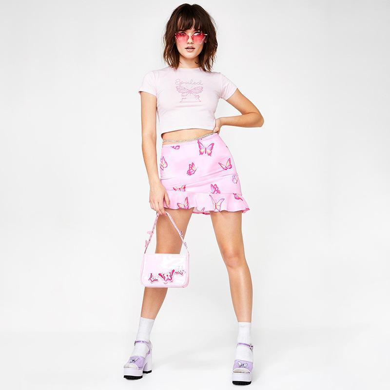 Yaz pembe sevimli Kelebek baskı pamuk ekin kadınlara 2020 moda ana cadde gündelik tee Temel İnce kısa kollu tshirt başında