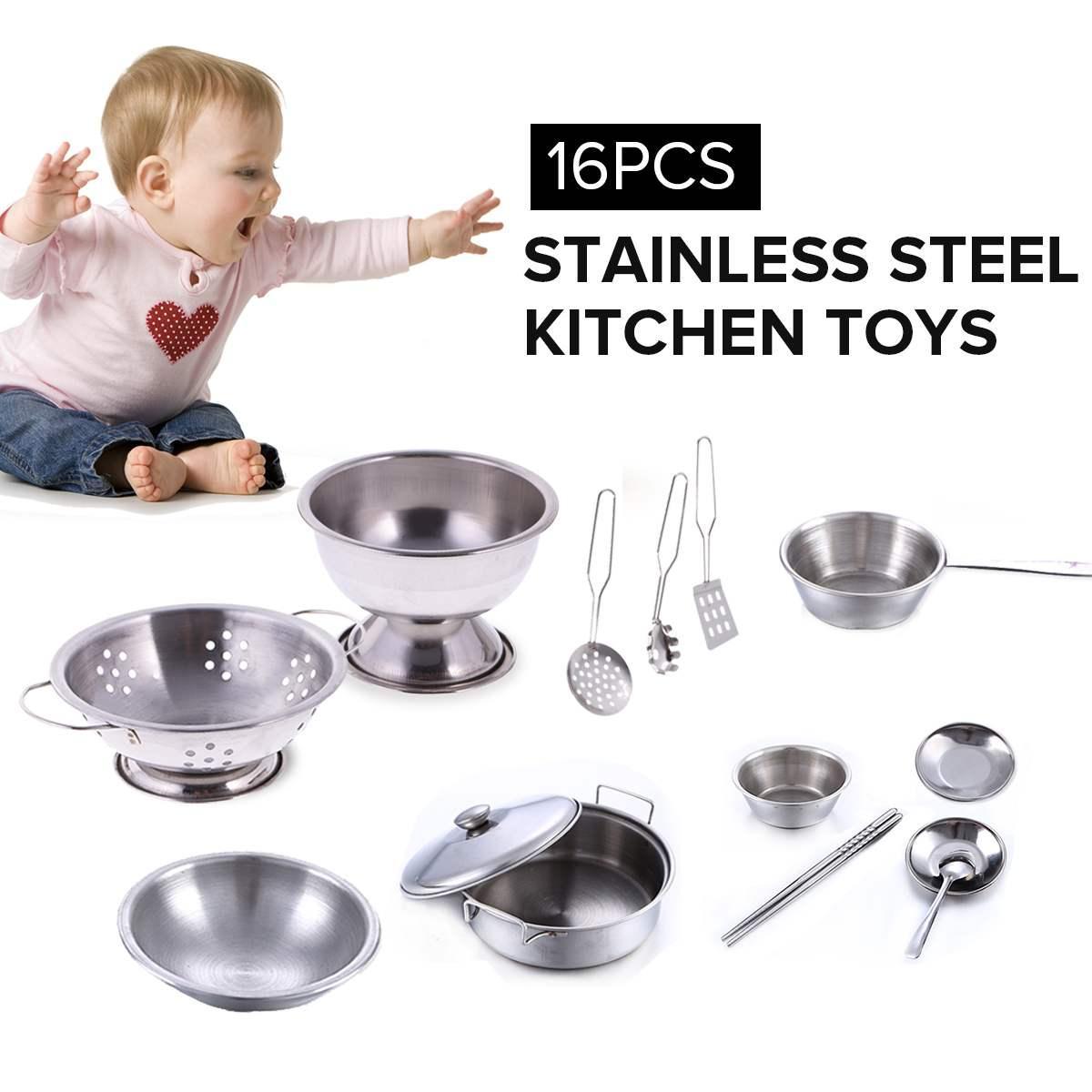 16pcs Juego de juguetes de cocina Juego de cocina de acero inoxidable Juego de cocina Mini modelo Utensilios de cocina Utensilios de cocina para niños de niños 0-14