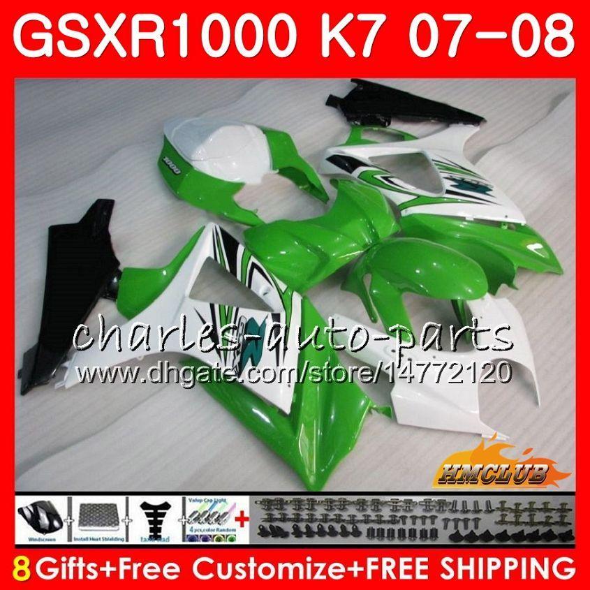 Carnado para Suzuki GSXR 1000 GSX-R1000 K7 GSXR-1000 07 08 Carrocería brillante verde 12HC.66 GSX R1000 GSXR1000 07 08 2007 2008 Kit de cuerpo completo