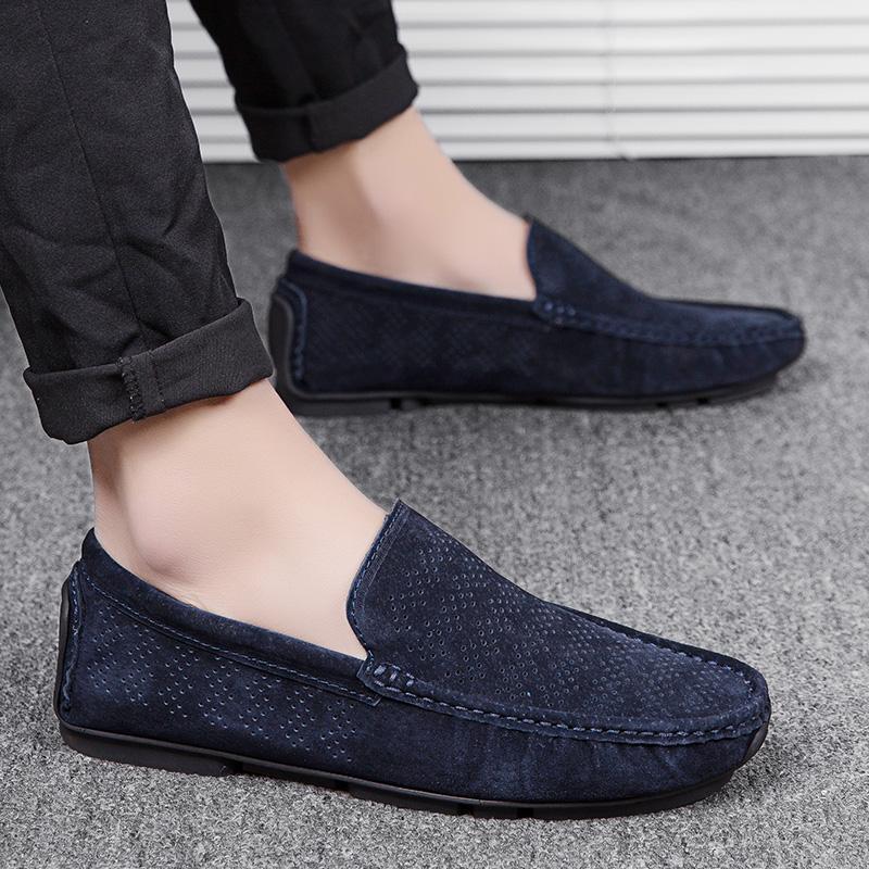 Mens Mocassini estate del cuoio genuino uomini scarpe leggere Scarpe Uomo Casual scarpe traspiranti guida Uomo Scarpe