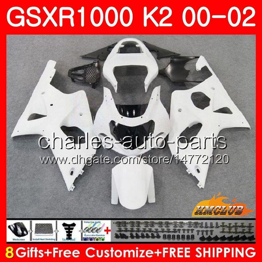 Frame voor Suzuki GSX-R1000 Glanzend wit NIEUWE GSXR1000 K2 GSX R1000 00 02 BODYS KIT 14HC.5 GSXR-1000 GSXR 1000 00 01 02 2000 2001 2002 Kuip