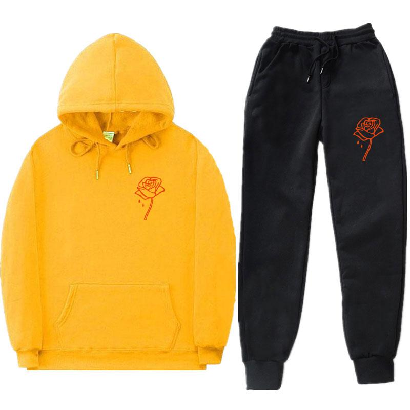 Men's Tracksuits Latest Rose Print High Quality Hoodie Pants Hip Hop Loose Casual Street Sports Leisure Suit