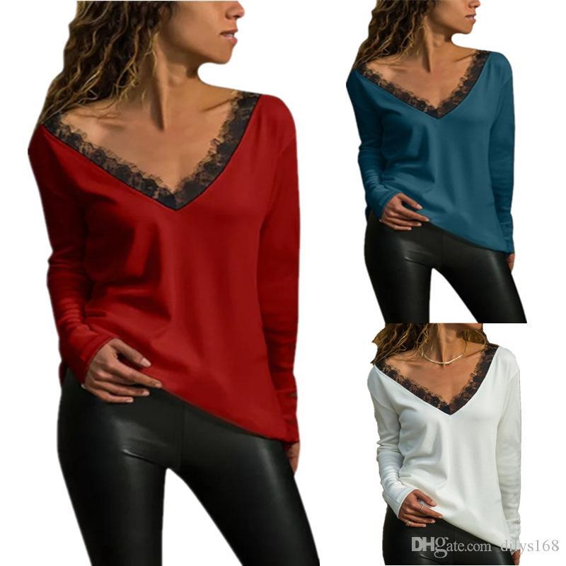 Fashion vêtements de femme womens shirts Women Designer Clothes T Shirts Clothing V collar Lace Long sleeves female T-shirt Crop tops