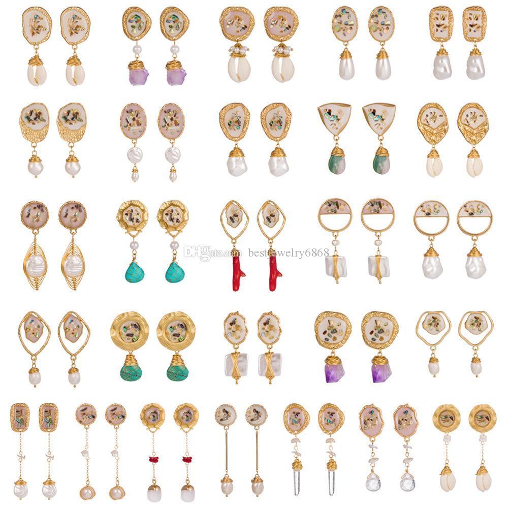 Pendientes de perlas de concha de mar irregulares de moda para mujer Pendientes de concha de concha de concha 2019 Joyería de playa de verano