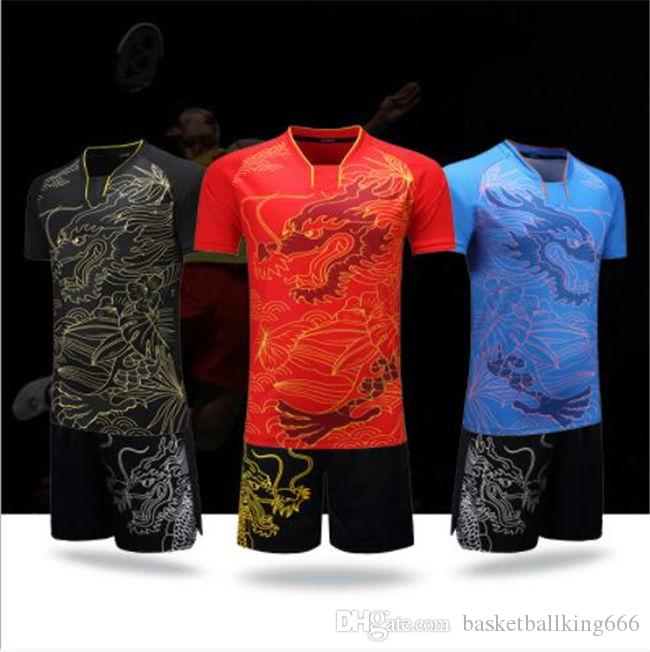 Sports Jersey Suit Loong Pattern Badminton Jersey Suit Short Sleeves Quick Drying Men and Women Training Jersey