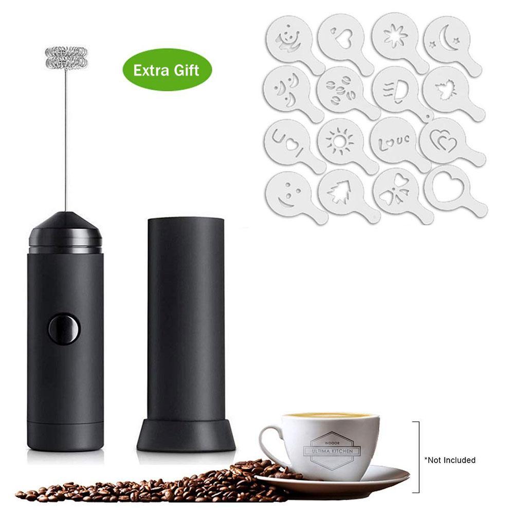 Kahve Cappuccino Creamer Yumurta mikseri için 16pcs Kahve Baskı Modeli Güçlü Elektrikli Frother Whisk ile El Süt Frother