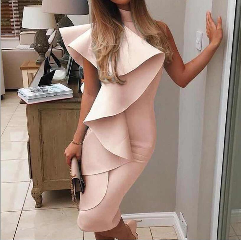 Modulo balza una spalla vestito attillato di media lunghezza corto abito senza maniche Zipper aderente Ruffle Plain Ruffle
