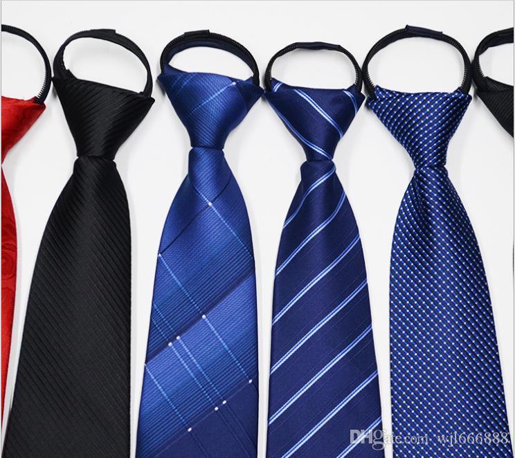 Coreano negócio dos homens Laço 8C Stripe Zipper Tie