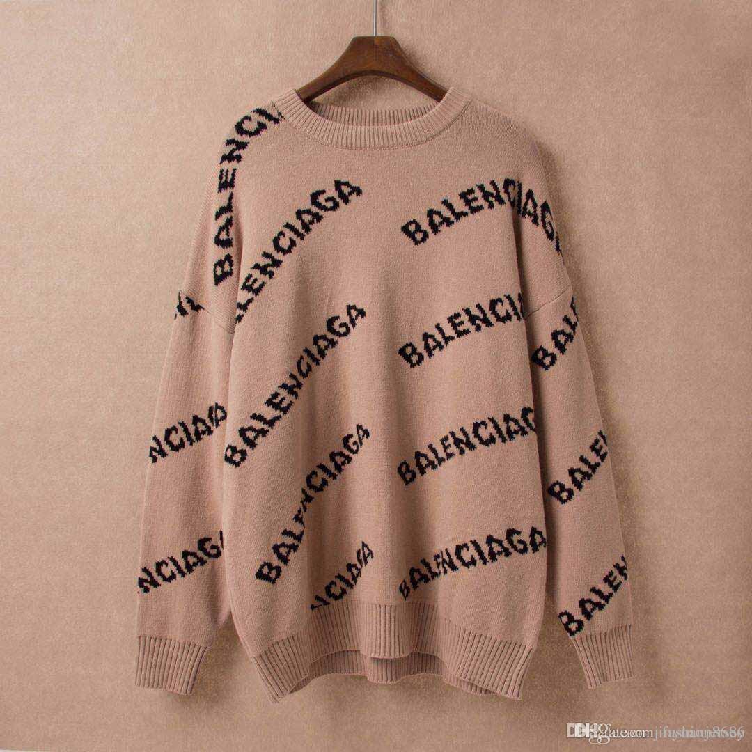 Lettera manica Autunno Inverno nero Maglioni Uomini Moda a lungo Stampa coppia Maglioni allentati Pullover Designers Maglioni