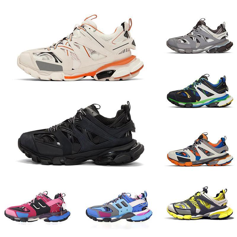 Triple S Traccia 3,0 Casual Scarpe piattaforma Triple Nero Bianco Giallo Grigio Uomini Donne Trainer Sport Sneakers Drop Shipping