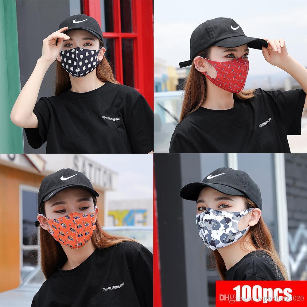 미국 주식, 디자이너 얼굴 마스크 보호 얼음 실크면 얼굴 Mascherine 위장 딸기 안티 먼지 / PM2.5 통기성 입 인쇄 마스크