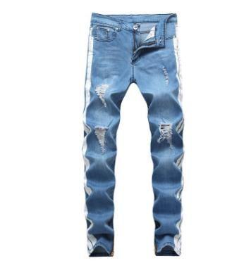 Forma-Mens Designer Jeans 2019 Primavera Negra rasgado Buracos afligido Design Jean Calças Lápis Pockets Hommes Calças