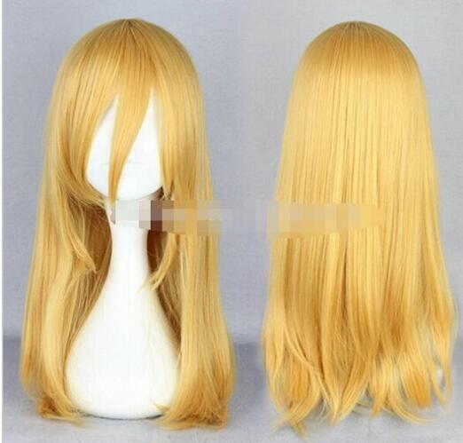EXPÉDITION GRATUITE + + 55cm moyen droit attaque jaune clair sur Titan Krista Lenz perruque cosplay 55cm moyen droit attaque jaune clair sur Tita